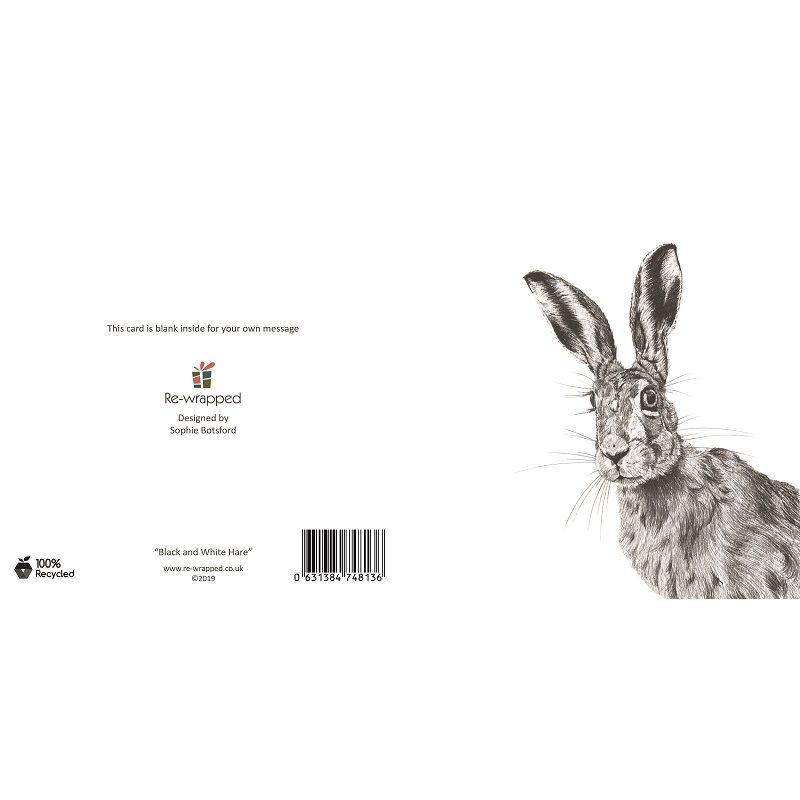 Re-wrapped: ECO Friendly Birthday Wrapping Paper Black and White Hare Greetings Card by Sophie Botsford made from 100% Unbleached Recycled Paper