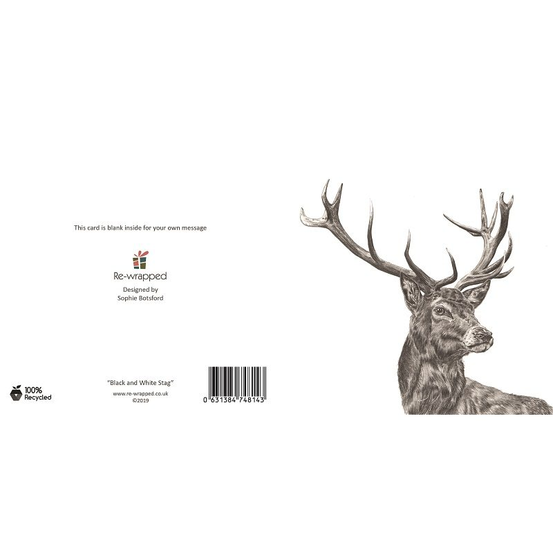 Re-wrapped: ECO Friendly Birthday Wrapping Paper Black and White Stag Greetings Card by Sophie Botsford made from 100% Unbleached Recycled Paper