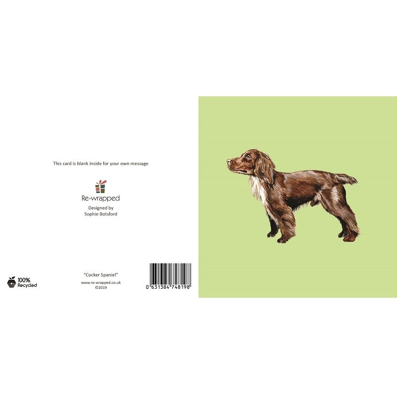 Re-wrapped: ECO Friendly Birthday Wrapping Paper Cocker Spaniel Dog Greetings Card by Sophie Botsford made from 100% Unbleached Recycled Paper