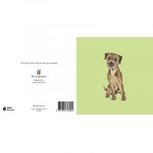 Re-wrapped: ECO Friendly Birthday Wrapping Paper Border Terrier Dog Greetings Card by Sophie Botsford made from 100% Unbleached Recycled Paper