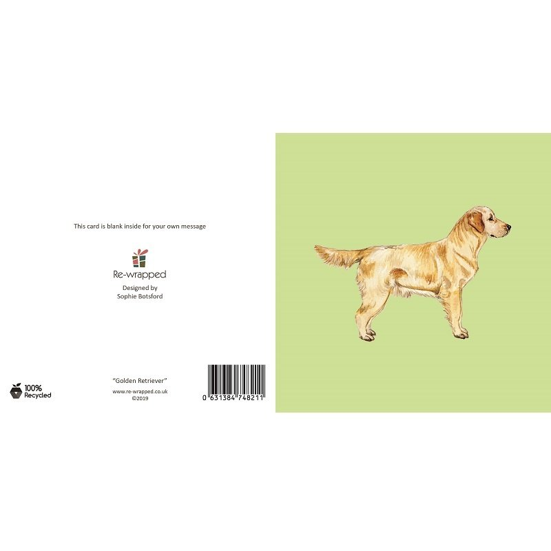 Re-wrapped: ECO Friendly Birthday Wrapping Paper Golden Retriever Dog Greetings Card by Sophie Botsford made from 100% Unbleached Recycled Paper