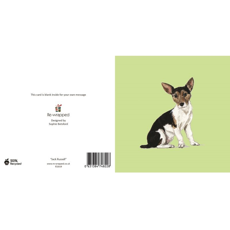 Re-wrapped: ECO Friendly Birthday Wrapping Paper Jack Russell Dog Greetings Card by Sophie Botsford made from 100% Unbleached Recycled Paper