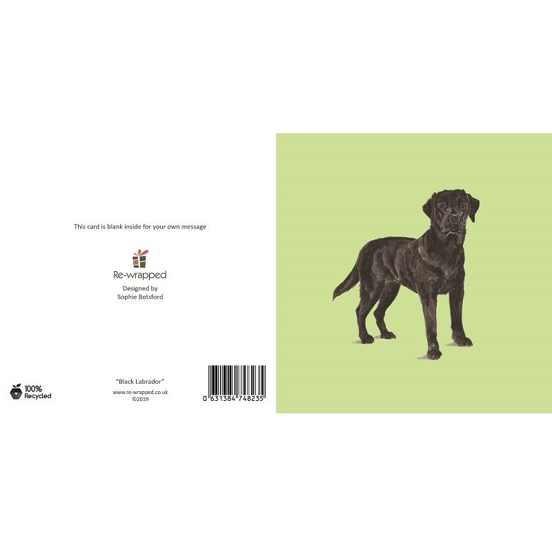Re-wrapped: ECO Friendly Birthday Wrapping Paper Black Labrador Dog Greetings Card by Sophie Botsford made from 100% Unbleached Recycled Paper