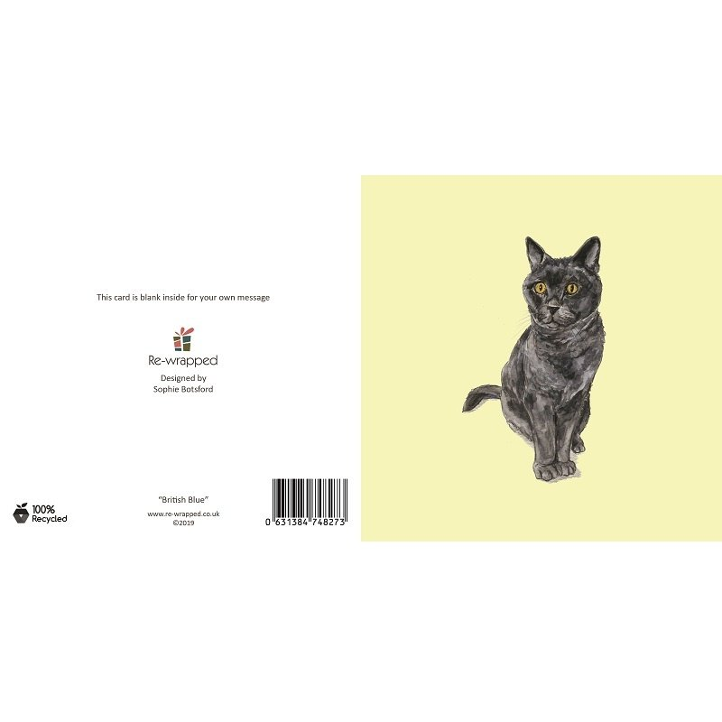Re-wrapped: ECO Friendly Birthday Wrapping Paper British Blue Cat Greetings Card by Sophie Botsford made from 100% Unbleached Recycled Paper