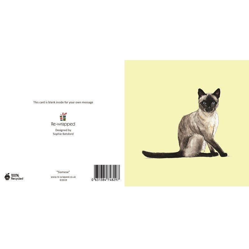 Re-wrapped: ECO Friendly Birthday Wrapping Paper Siamese Cat Greetings Card by Sophie Botsford made from 100% Unbleached Recycled Paper
