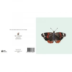 Re-wrapped: ECO Friendly Birthday Wrapping Paper Red Admiral Butterfly Greetings Card by Sophie Botsford made from 100% Unbleached Recycled Paper