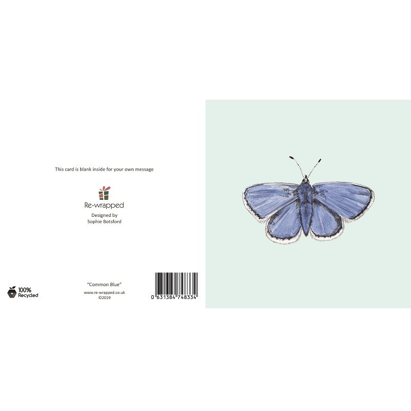 Re-wrapped: ECO Friendly Birthday Wrapping Paper Common Blue Butterfly Greetings Card by Sophie Botsford made from 100% Unbleached Recycled Paper
