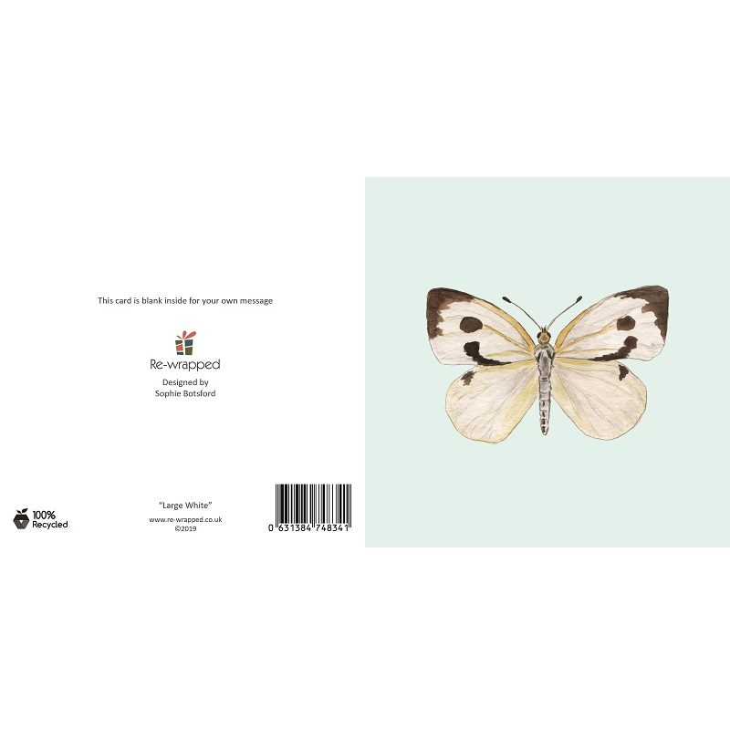 Re-wrapped: ECO Friendly Birthday Wrapping Paper Large White Butterfly Greetings Card by Sophie Botsford made from 100% Unbleached Recycled Paper