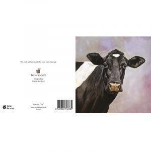 Re-wrapped: ECO Friendly Birthday Wrapping Paper Oil Friesian Cow Greetings Card by Sophie Botsford made from 100% Unbleached Recycled Paper