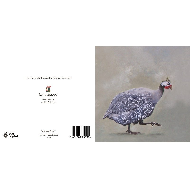 Re-wrapped: ECO Friendly Birthday Wrapping Paper Oil Guinea Fowl Greetings Card by Sophie Botsford made from 100% Unbleached Recycled Paper