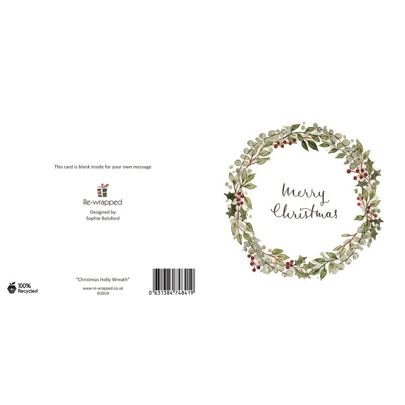 Re-wrapped: ECO Friendly Birthday Wrapping Paper Christmas Holly Wreath Greetings Card by Sophie Botsford made from 100% Unbleached Recycled Paper