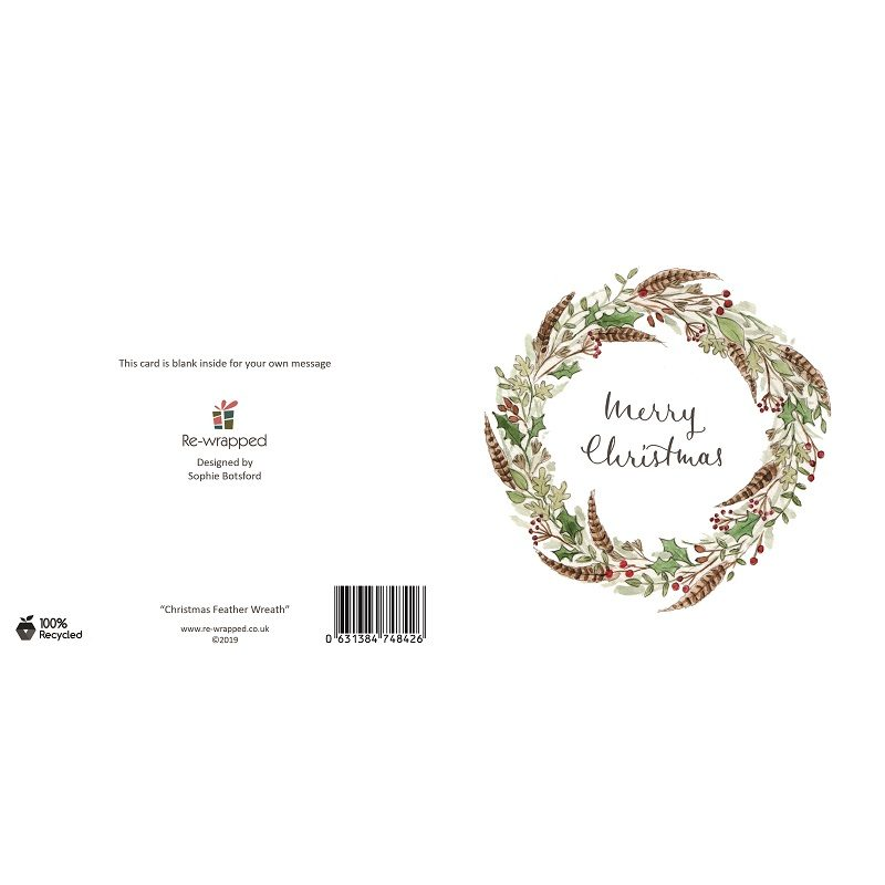 Re-wrapped: ECO Friendly Birthday Wrapping Paper Christmas Feather Wreath Greetings Card by Sophie Botsford made from 100% Unbleached Recycled Paper