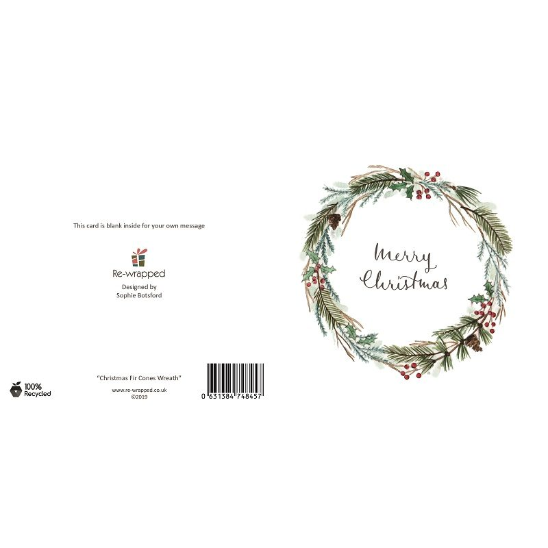 Re-wrapped: ECO Friendly Birthday Wrapping Paper Christmas Fir Cone Wreath Greetings Card by Sophie Botsford made from 100% Unbleached Recycled Paper