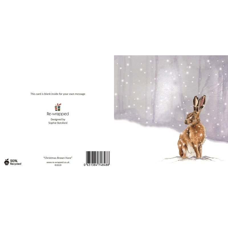 Re-wrapped: ECO Friendly Birthday Wrapping Paper Christmas Brown Hare Greetings Card by Sophie Botsford made from 100% Unbleached Recycled Paper