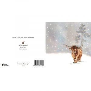 Re-wrapped: ECO Friendly Birthday Wrapping Paper Christmas Highland Cow Greetings Card by Sophie Botsford made from 100% Unbleached Recycled Paper