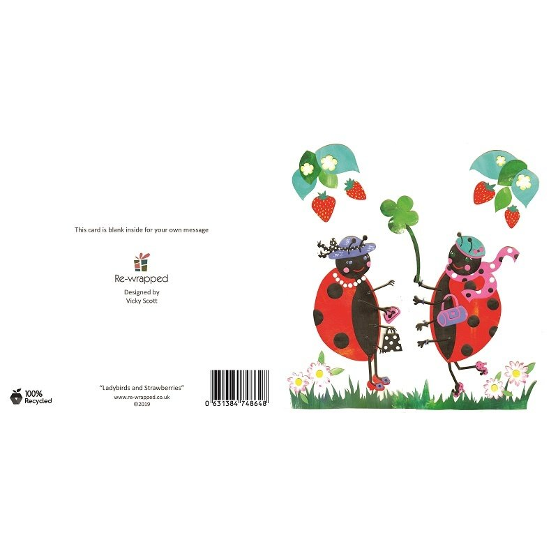 Re-wrapped: ECO Friendly Birthday Wrapping Paper Ladybirds and Strawberries Greetings Card by Vicky Scott made from 100% Unbleached Recycled Paper
