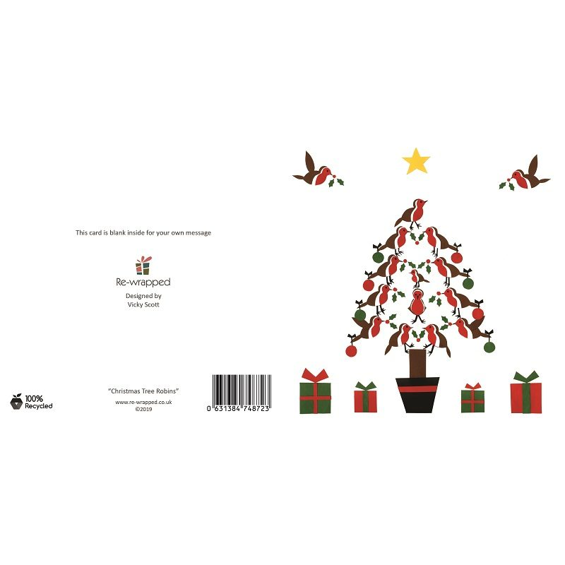 Re-wrapped: ECO Friendly Birthday Wrapping Paper Christmas Tree Robins Greetings Card by Vicky Scott made from 100% Unbleached Recycled Paper