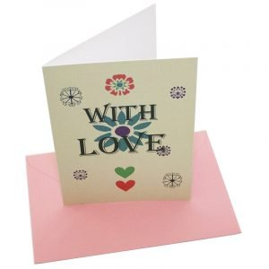 Re-wrapped: ECO Friendly Birthday Wrapping Paper Cream Ditsy With Love Greetings Card by Kate Heiss made from 100% Unbleached Recycled Card