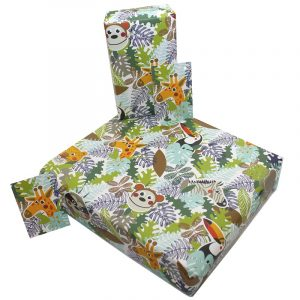 Re-wrapped: ECO Friendly Wrapping Paper Children's Jungle Animals by Rosie Parkinson made from 100% Unbleached Recycled Paper