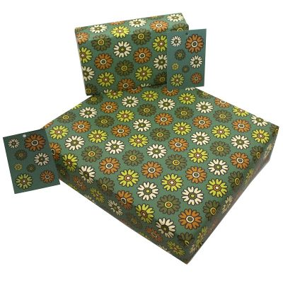 Re-wrapped: ECO Friendly Wrapping Paper Retro Blue Flowers by Rosie Parkinson made from 100% Unbleached Recycled Paper