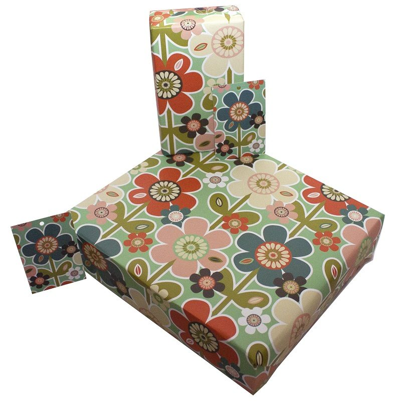 Re-wrapped: ECO Friendly Wrapping Paper Retro Daisies by Rosie Parkinson made from 100% Unbleached Recycled Paper
