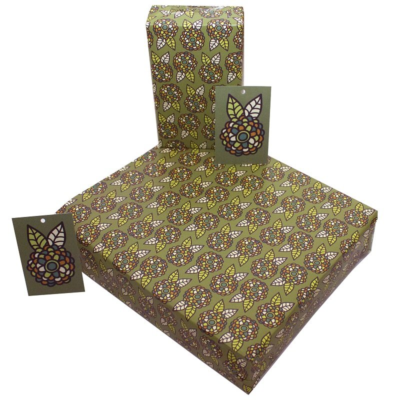 Re-wrapped: ECO Friendly Wrapping Paper Retro Green Flowers by Rosie Parkinson made from 100% Unbleached Recycled Paper