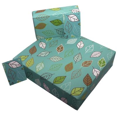 Re-wrapped: ECO Friendly Wrapping Paper Retro Leaves by Rosie Parkinson made from 100% Unbleached Recycled Paper