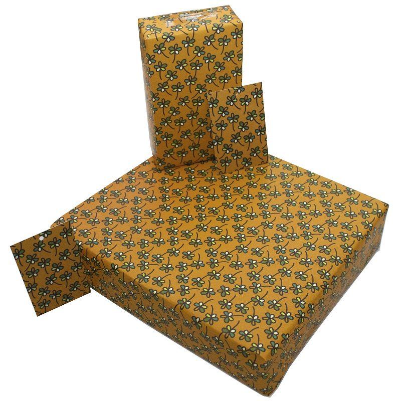 Re-wrapped: ECO Friendly Wrapping Paper Retro Tan Flowers by Rosie Parkinson made from 100% Unbleached Recycled Paper