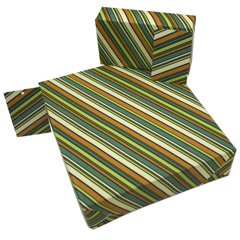 Re-wrapped: ECO Friendly Wrapping Paper Retro Go Stripey by Rosie Parkinson made from 100% Unbleached Recycled Paper