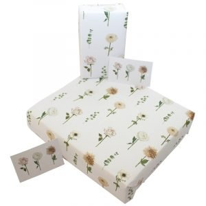 Re-wrapped: ECO Friendly Birthday Wrapping Paper Wedding Carnations by Sophie Botsford made from 100% Unbleached Recycled Paper