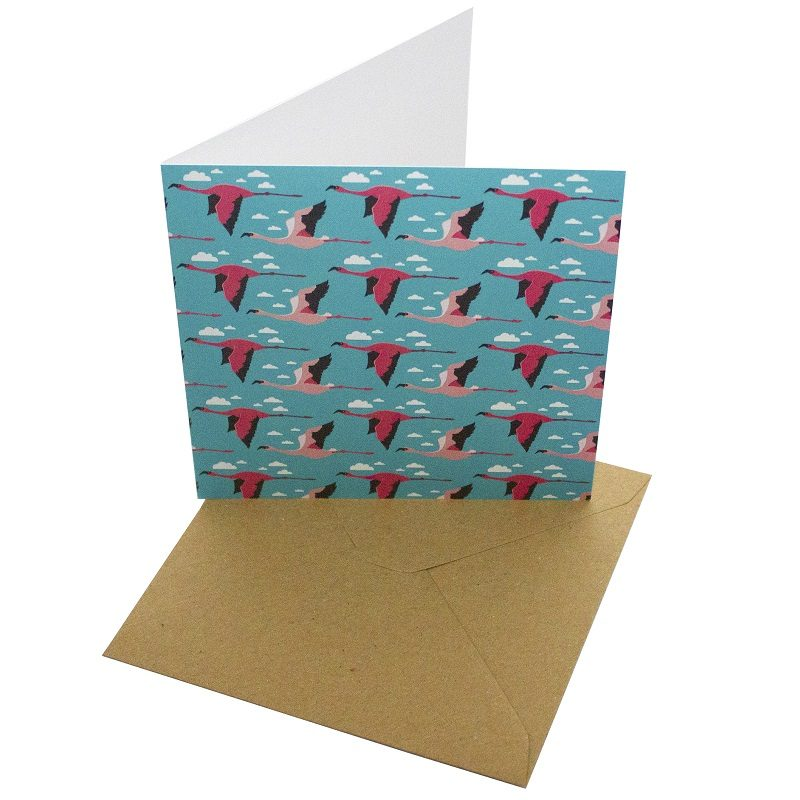 Re-wrapped: ECO Friendly Birthday Wrapping Paper Flamingos Greetings Card by Vicky Scott made from 100% Unbleached Recycled Card