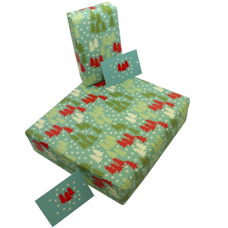 Re-wrapped: ECO Friendly Xmas Wrapping Paper Christmas Forest by Kate Heiss made from 100% Unbleached Recycled Paper