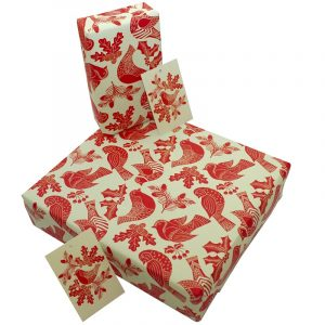 Re-wrapped: ECO Friendly Xmas Wrapping Paper Christmas Folk Robins Red by Kate Heiss made from 100% Unbleached Recycled Paper