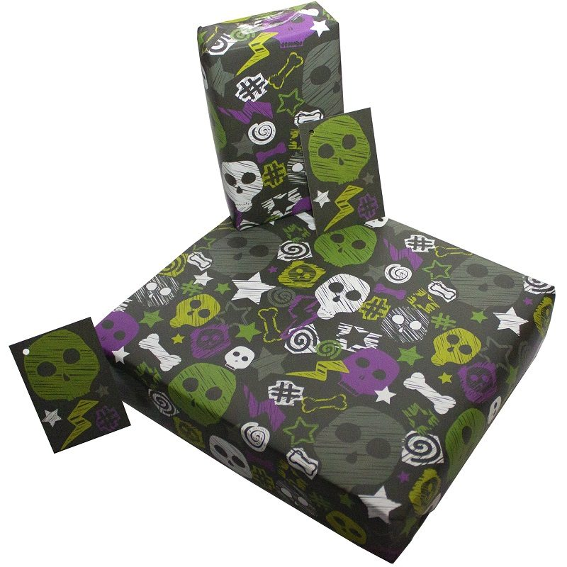 Re-wrapped: ECO Friendly Wrapping Paper Skulls and Bones by Rosie Parkinson made from 100% Unbleached Recycled Paper