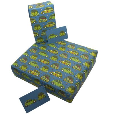 Re-wrapped: ECO Friendly Wrapping Paper Beetle Cars by Rosie Parkinson made from 100% Unbleached Recycled Paper
