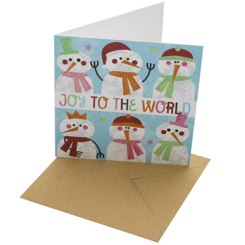 Re-wrapped: ECO Friendly Xmas Wrapping Paper Christmas Joy to the World Greetings Card by Rosie Parkinson made from 100% Unbleached Recycled Card