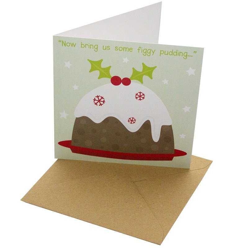 Re-wrapped: ECO Friendly Xmas Wrapping Paper Christmas Pudding Greetings Card by Rosie Parkinson made from 100% Unbleached Recycled Card