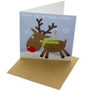 Re-wrapped: ECO Friendly Xmas Wrapping Paper Christmas Rudolf Reindeer Greetings Card by Rosie Parkinson made from 100% Unbleached Recycled Card