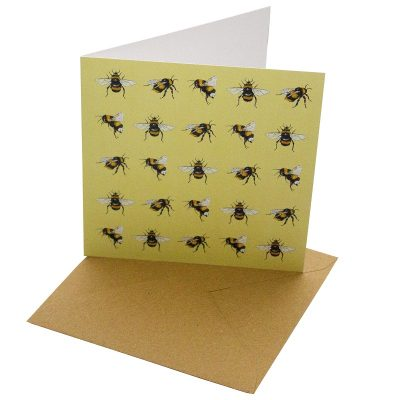 Re-wrapped: ECO Friendly Birthday Wrapping Paper Bees Greetings Card by Sophie Botsford made from 100% Unbleached Recycled Card