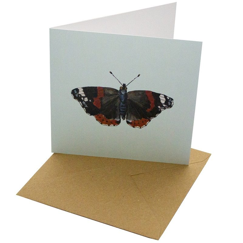 Re-wrapped: ECO Friendly Birthday Wrapping Paper Red Admiral Butterfly Greetings Card by Sophie Botsford made from 100% Unbleached Recycled Card
