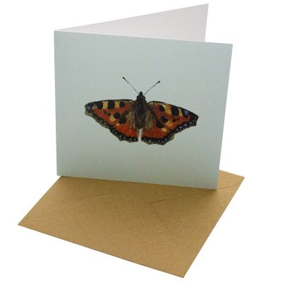 Re-wrapped: ECO Friendly Birthday Wrapping Paper Tortoiseshell Butterfly Greetings Card by Sophie Botsford made from 100% Unbleached Recycled Card