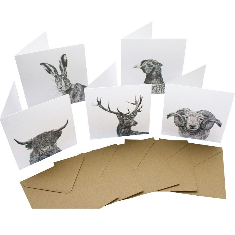Re-wrapped: ECO Friendly Birthday Wrapping Paper Black and White Large Pack Greetings Card by Sophie Botsford made from 100% Unbleached Recycled Card