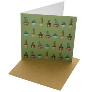 Re-wrapped: ECO Friendly Birthday Wrapping Paper Cactus Greetings Card by Sophie Botsford made from 100% Unbleached Recycled Card