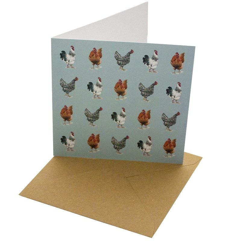 Re-wrapped: ECO Friendly Birthday Wrapping Paper Chicken Breeds Greetings Card by Sophie Botsford made from 100% Unbleached Recycled Card