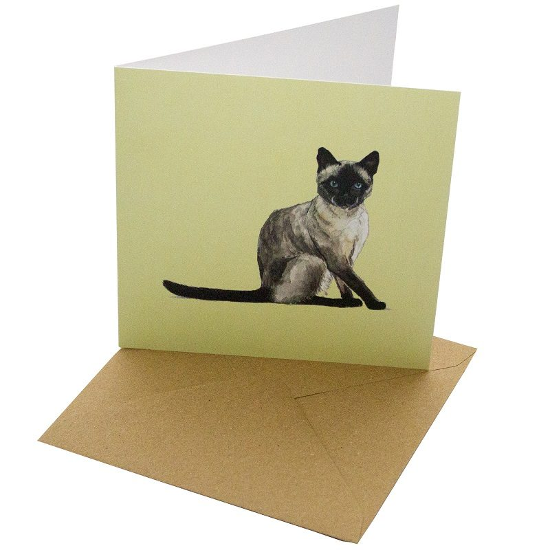 Re-wrapped: ECO Friendly Birthday Wrapping Paper Cat Breeds Siamese Greetings Card by Sophie Botsford made from 100% Unbleached Recycled Card