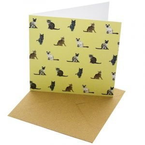 Re-wrapped: ECO Friendly Birthday Wrapping Paper Cat Breeds and Wellington Greetings Card by Sophie Botsford made from 100% Unbleached Recycled Card