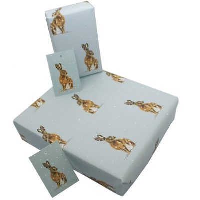 Re-wrapped: ECO Friendly Xmas Wrapping Paper Christmas Brown Hares by Sophie Botsford made from 100% Unbleached Recycled Paper