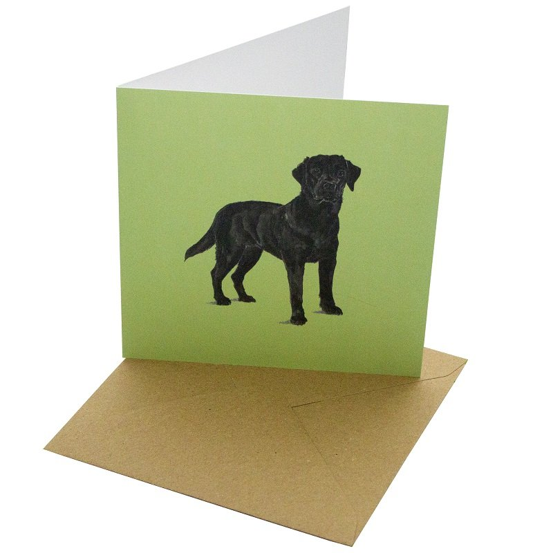 Re-wrapped: ECO Friendly Birthday Wrapping Paper Black Labrador Dog Greetings Card by Sophie Botsford made from 100% Unbleached Recycled Card