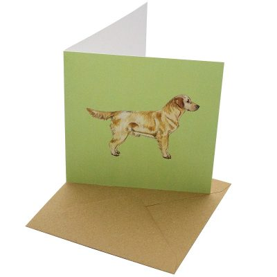 Re-wrapped: ECO Friendly Birthday Wrapping Paper Golden Retriever Dog Greetings Card by Sophie Botsford made from 100% Unbleached Recycled Card
