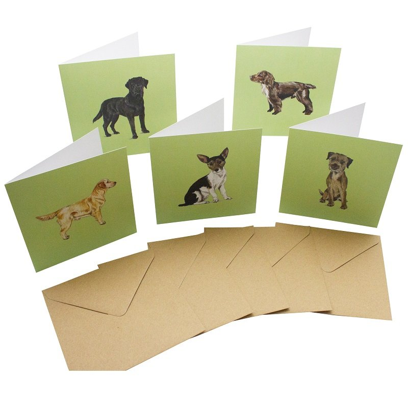Re-wrapped: ECO Friendly Birthday Wrapping Paper Dog Breeds Large Pack Greetings Card by Sophie Botsford made from 100% Unbleached Recycled Card